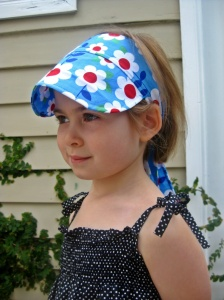 Red and blue floral sun visor