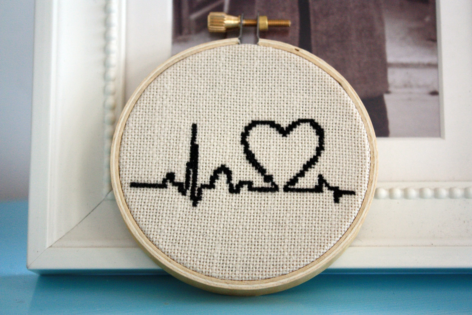 Heartbeat cross stitch