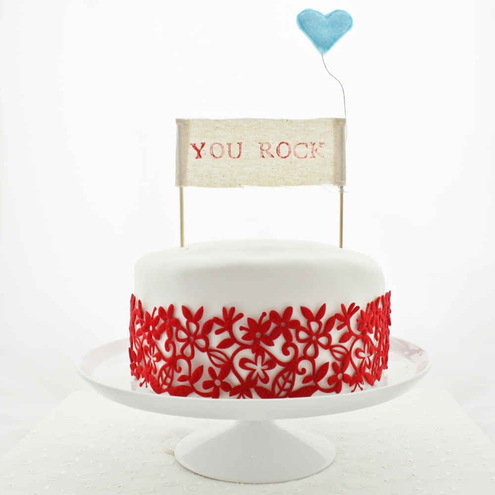 You rock red banner - red floral cake - aqua heart - square