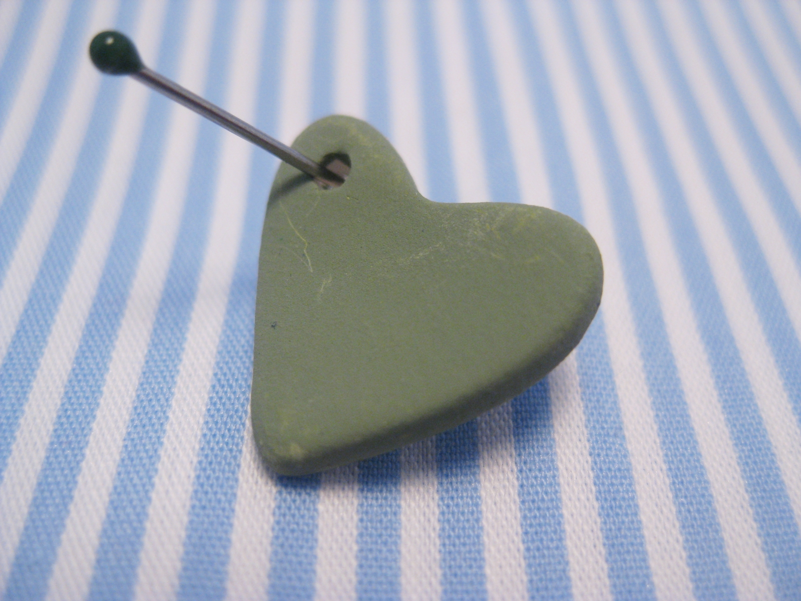 Green ceramic heart