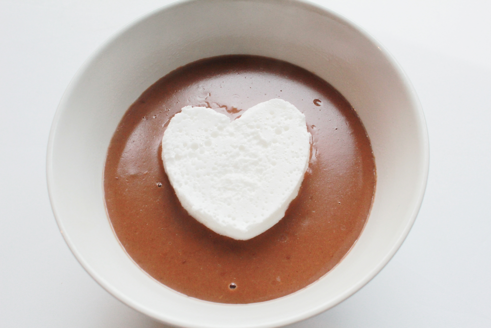 Bol au chocolat with homemade marshmallow heart
