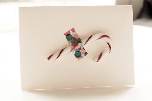 Christmas card with candy cane and washi tape