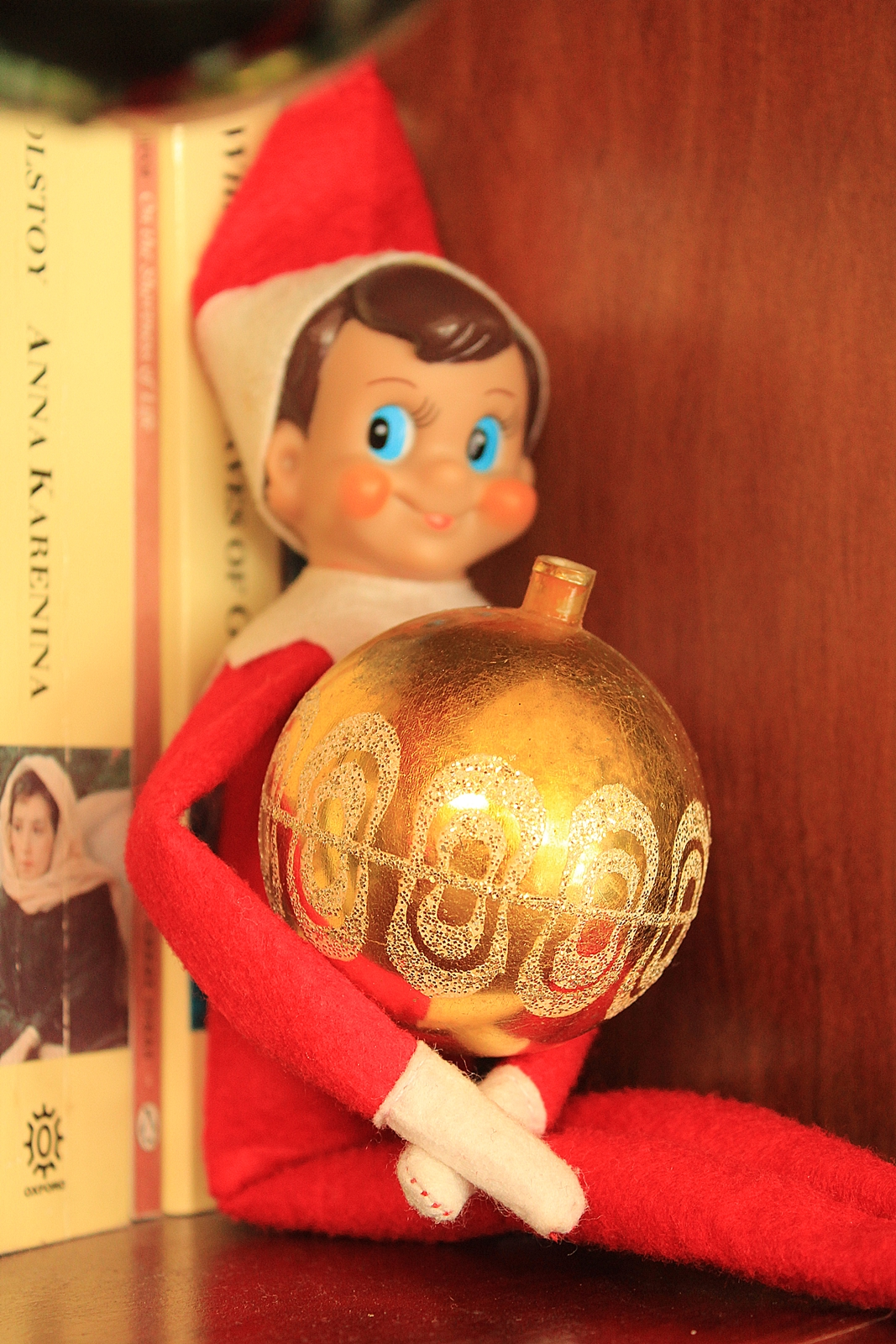 Elf on Shelf with bauble