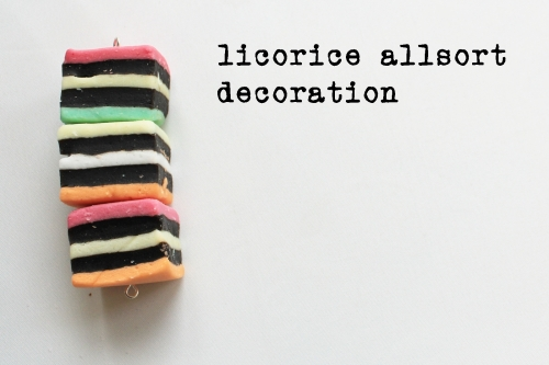 Licorice allsort decoration close up with description