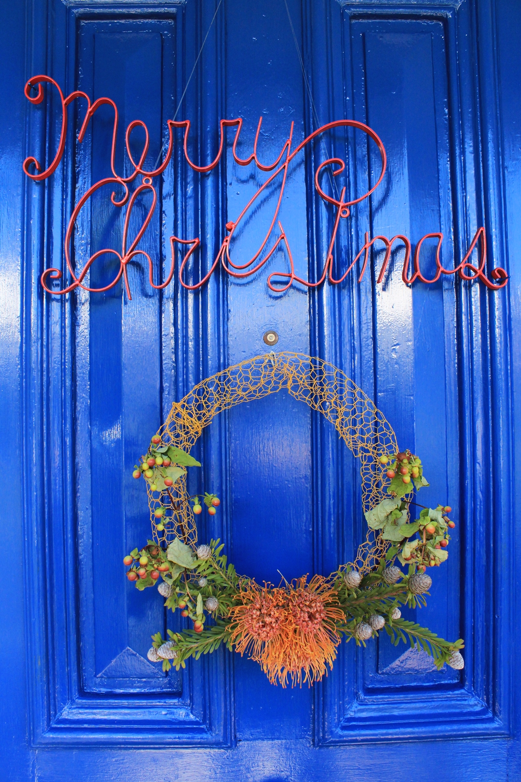 Native wreath on blue door