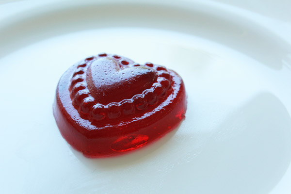 Heart shaped fancy jelly