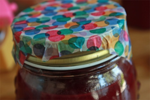 Washi tape strips on jam jar lid