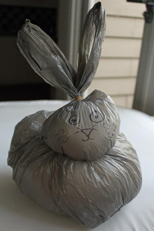 Plastic bag bunny