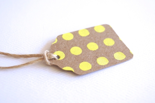 Miss Honey Joy spotty yellow tag