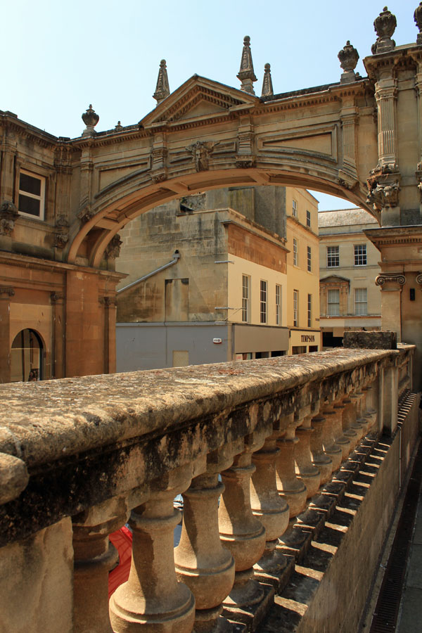 Balustrade and arch at Roman baths