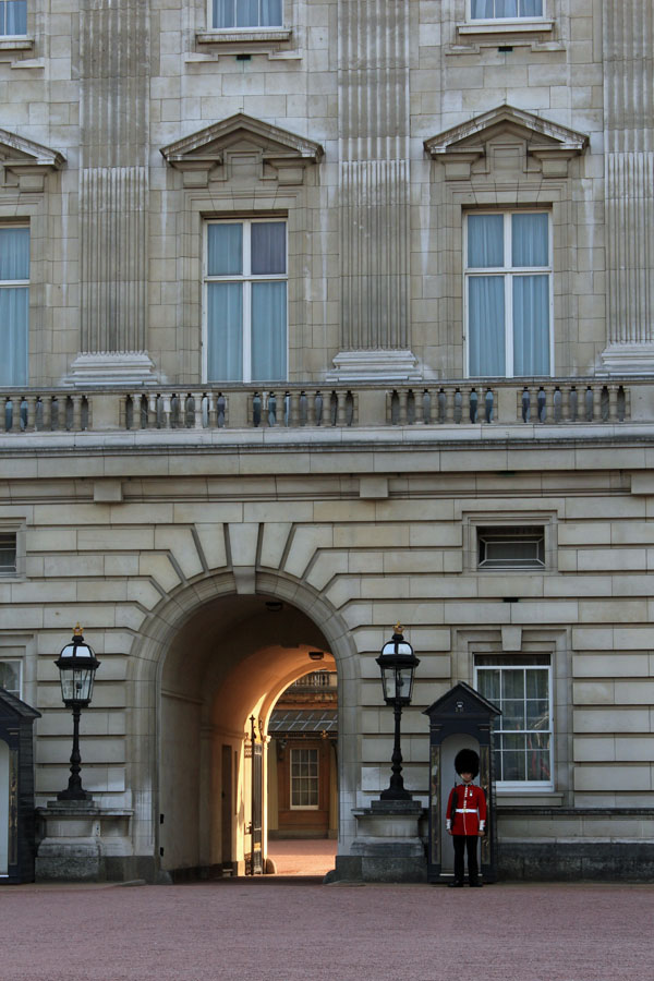 Buckingham Palace exterior with guard