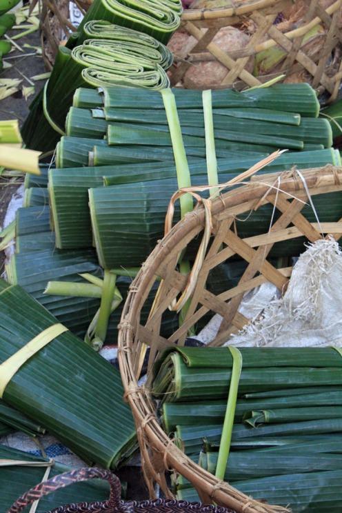 Banana palm rolls, Ubud market, Bali