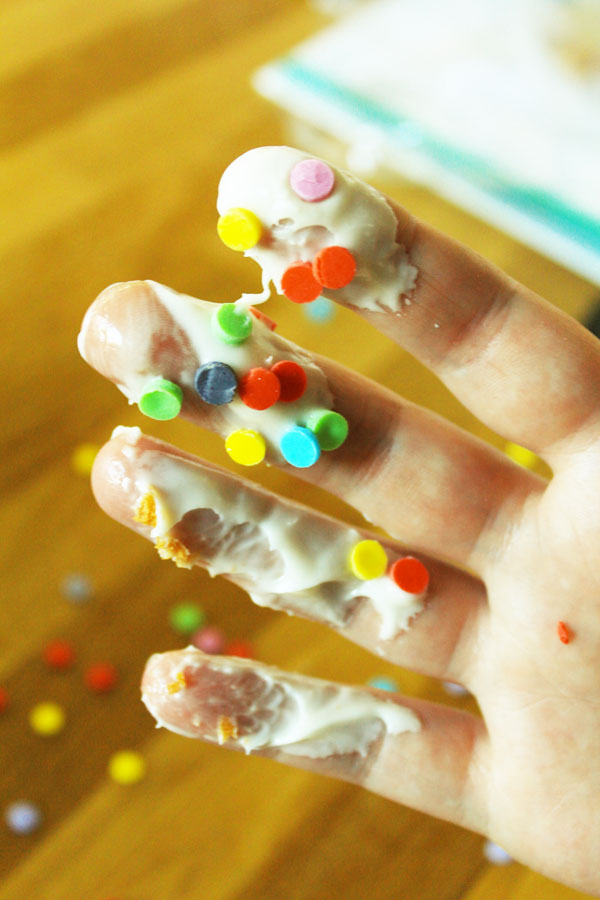 Edible confetti on my fingers