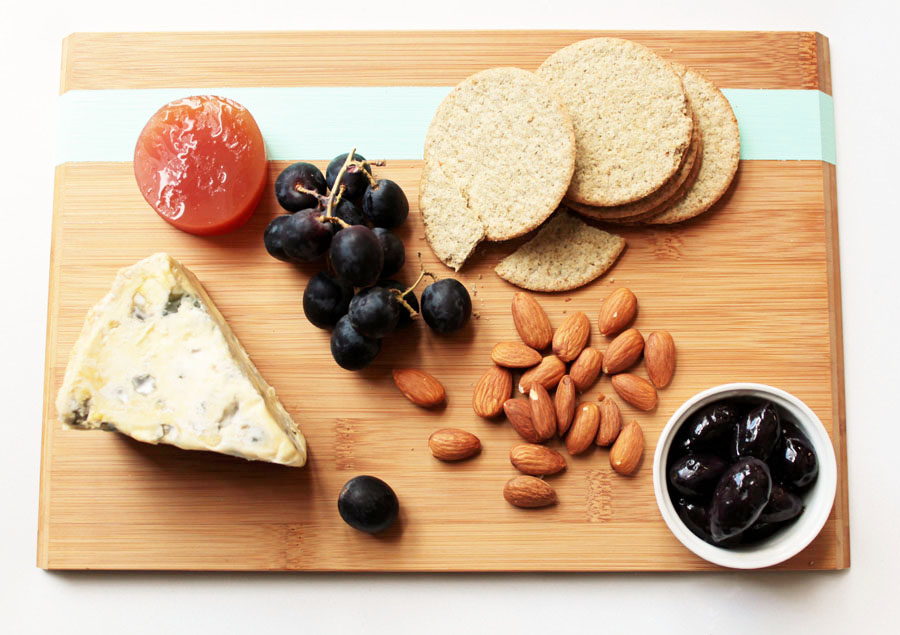 Aqua stripe cheese platter