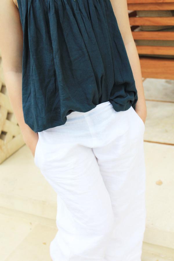 Flat front white linen pants