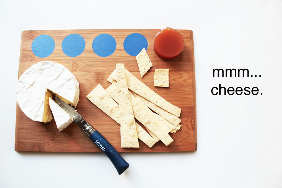 Painted wooden cheese board blue dots