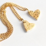 Twin gold dust heart necklaces