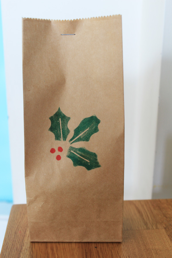 Bag of shortbread with holly stamp