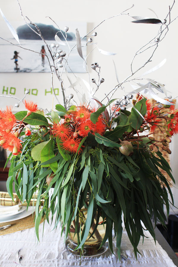 Gum tree Christmas table centre piece