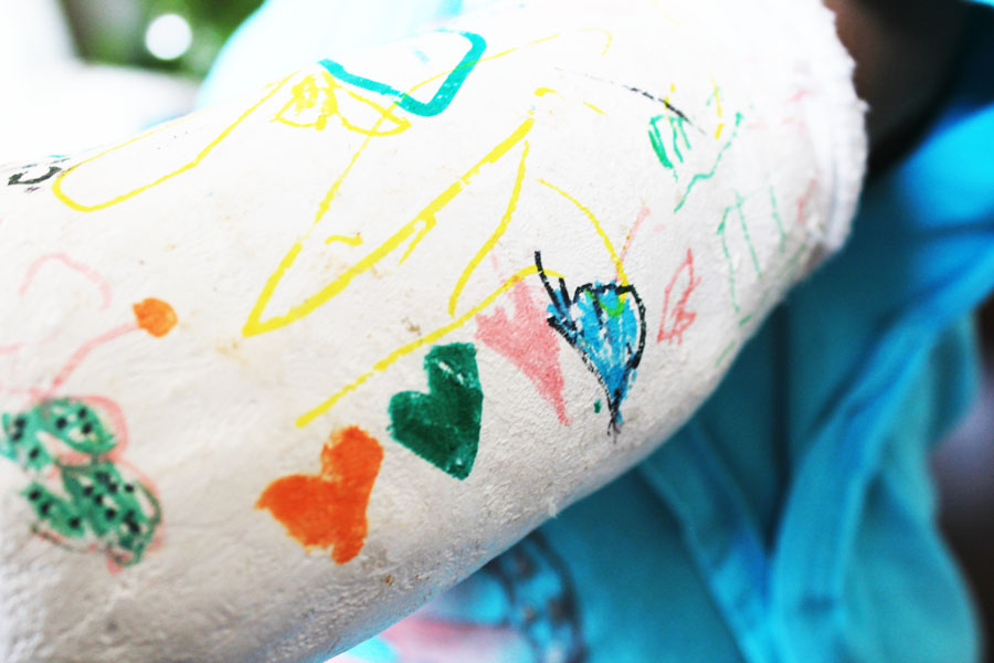 Love hearts on Olive's cast