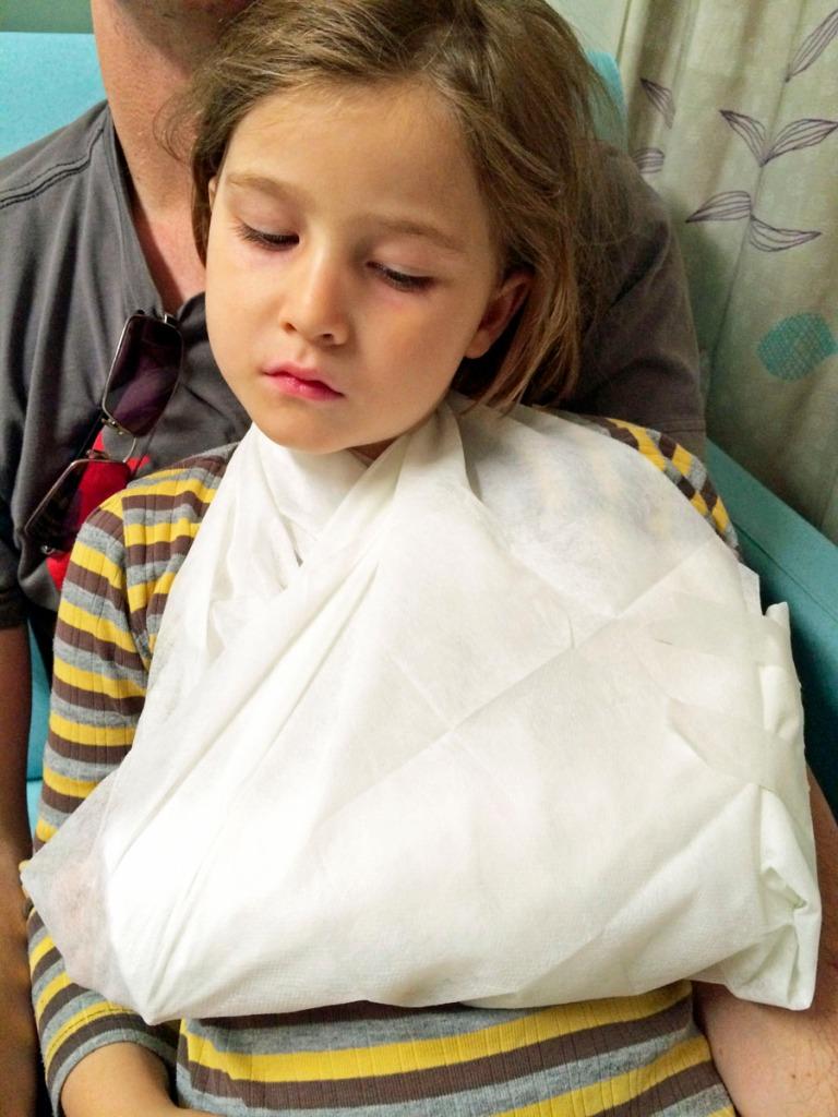 Olive in sling at hospital
