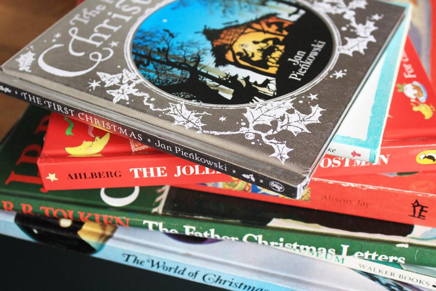 Stack of Christmas books