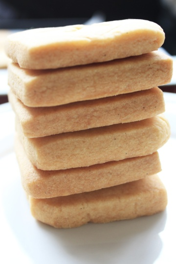 Stack of homemade shortbread side on