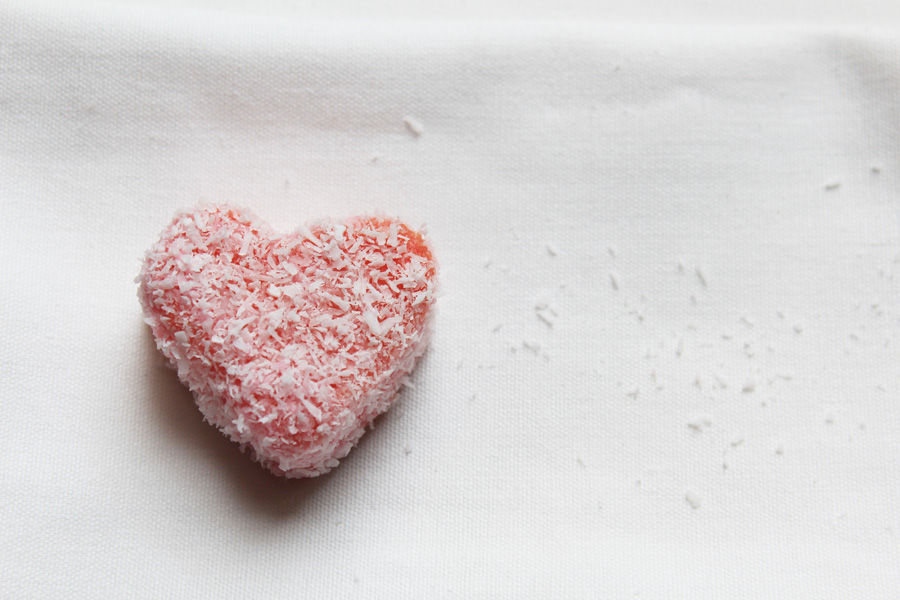 Pink heart-shaped lamington