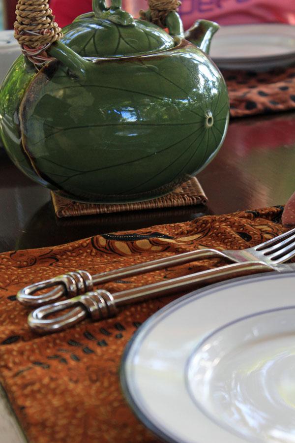 Javanese tea pot, batik placemats