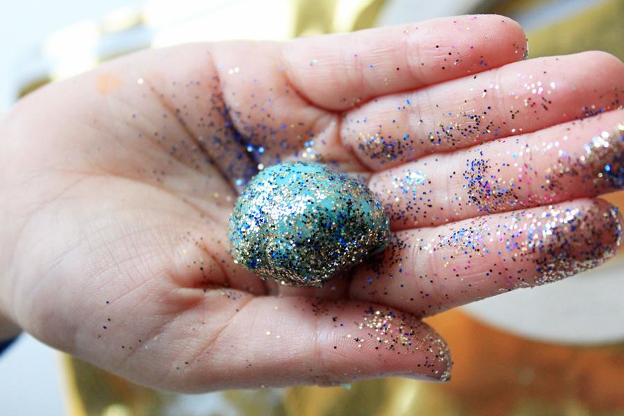 Glitter rolled playdough egg