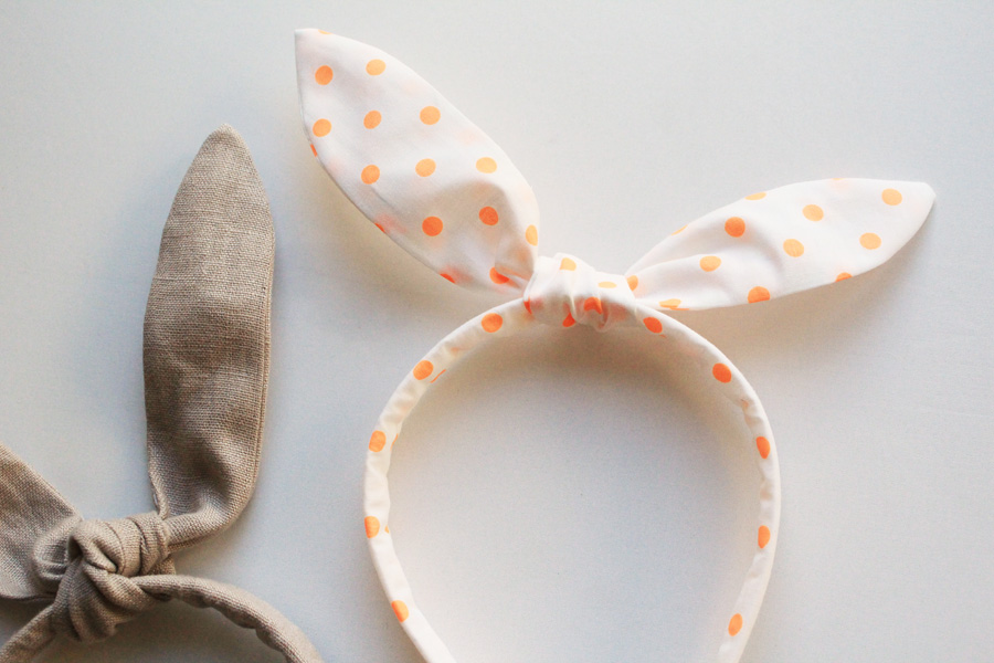 Orange dot and tan linen bunny ear headbands