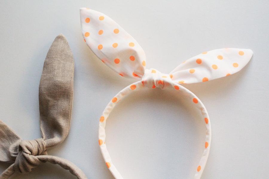Orange dot and tan linen bunny ear headbands