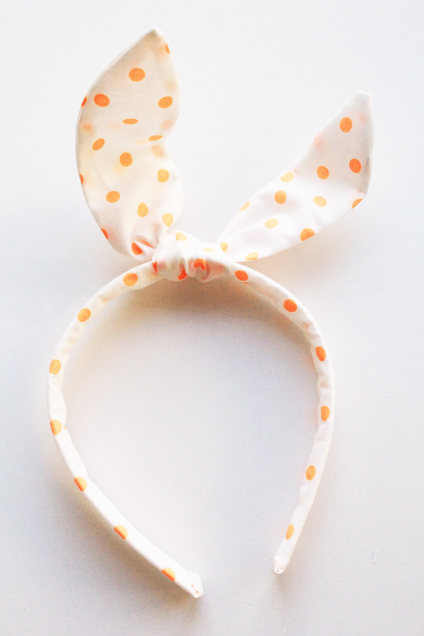 orange dot bunny ears headband 2